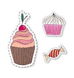 patches elements with sweets food doodle funny vector image vector image