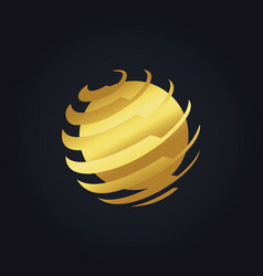 Round global technology gold logo vector