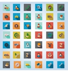 Service square flat longshadow icon set vector