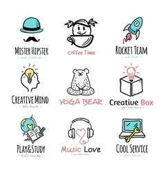 Set of doodle and sketch style logos vector image
