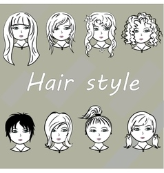 Set woman with beautiful hair style vector image