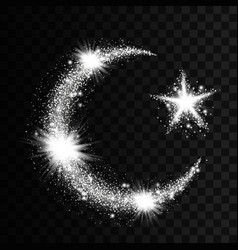Silver particles wave in form of crescent and star vector