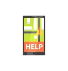 Smartphone evacuation app with location mark vector