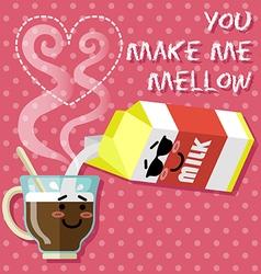 Smiling cartoon on coffee cup and milk carton vector
