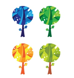 trees set funny vector image vector image