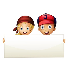 Two kids at the back of an empty signboard vector image vector image