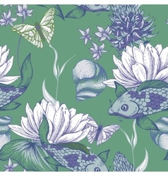 Vintage pond water flowers seamless pattern vector