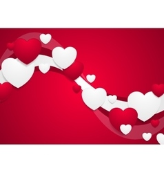 Wavy red and white Valentine Day background vector image vector image