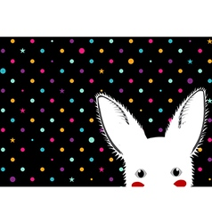White Rabbit Colorful Dots Star Background vector image vector image
