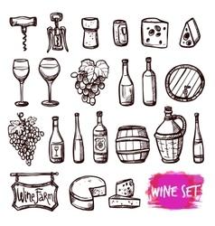 Wine black doodle icons set vector