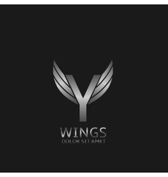 Wings Y letter logo vector image vector image