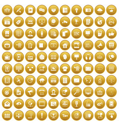100 information technology icons set gold vector