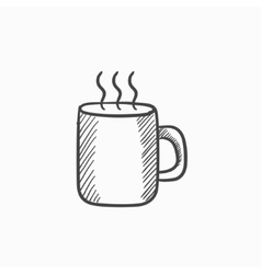 Mug of hot drink sketch icon vector image