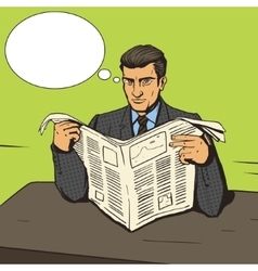 Man reading newspaper pop art vector