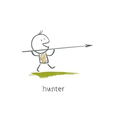 A hunter with a spear vector