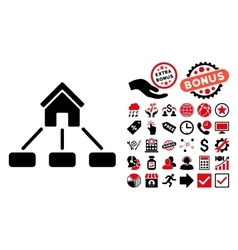 Realty links flat icon with bonus vector
