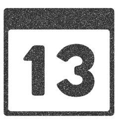 Thirteenth calendar page grainy texture icon vector