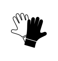 Black protective gloves pair icon vector
