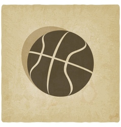 Sport basketball logo old background vector