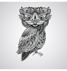 Black owl tattoo style vector