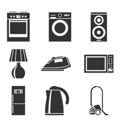 Set of household appliances silhouette icons vector image