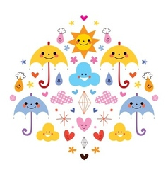 Cute umbrellas raindrops flowers clouds characters vector
