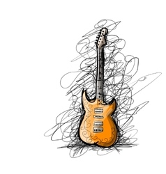 Art sketch of guitar for your design vector image