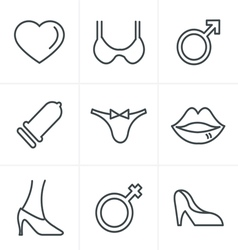 Line icons style sex and xxx icons set vector