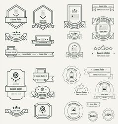 Label and ribbon template design set line style vector