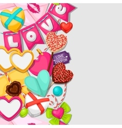 Seamless pattern with hearts objects decorations vector