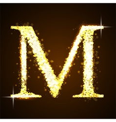 Alphabets m of gold glittering stars vector