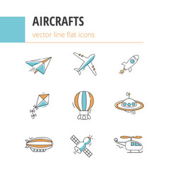 9 line flat icons aircrafts vector
