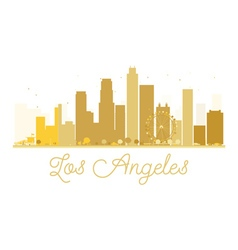 Los angeles city skyline golden silhouette vector