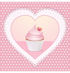 decorative cupcake love heart vector image