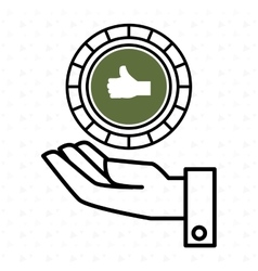 Hand green circle isolated icon design vector