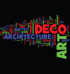 Art deco architecture text background word cloud vector
