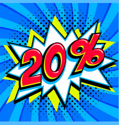 Blue sale web banner sale twenty percent 20 off vector