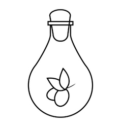 Bottle with olive oil icon outline style vector image