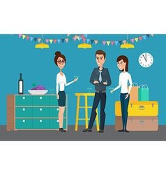 Cheerful corporate party holiday creative flat vector