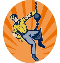 Construction worker hanging on hook vector image vector image