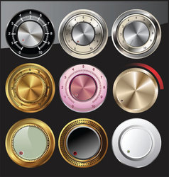 Control or volume knobs in different colors vector
