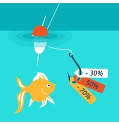 Fish on the hook discounts and sales vector