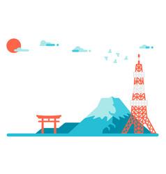 Flat design japan landmarks background vector