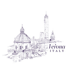 freehand digital drawing of verona italy vector image vector image
