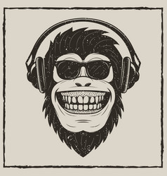 Funny monkey listening to music grunge t vector