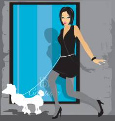 girl and poodle vector image vector image