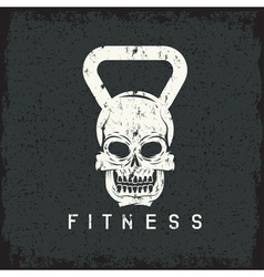 grunge skull in the form of kettlebell fitness vector image vector image