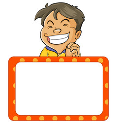 Happy boy and board template vector