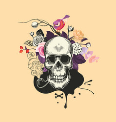 human skull drawn in woodcut style smokes fuming vector image vector image