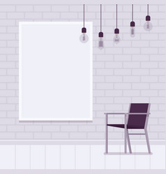 Loft interior with white brick wall frame for vector